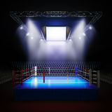 Empty professional boxing ring. A 3d render illustration of empty professional boxing ring with illumination by spotlights Stock Image