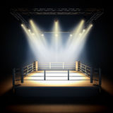 Empty professional boxing ring. A 3d render illustration of empty professional boxing ring with illumination by spotlights Royalty Free Stock Image