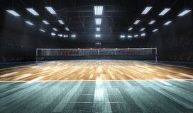 Empty professional volleyball court in lights stock image