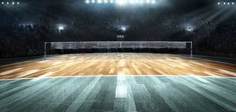 Empty professional volleyball court in lights stock photos