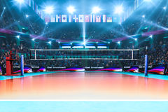 Empty professional volleyball court with spectators no players Royalty Free Stock Images