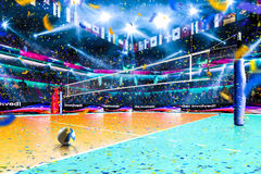 Empty professional volleyball court with spectators no players Stock Image