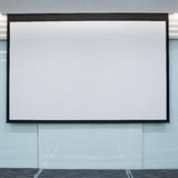 Empty Projection screen, Presentation board. Blank whiteboard for conference Stock Photo