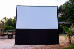 Empty Projection screen, Presentation board, blank whiteboard. For conference out door stock image