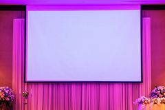 Empty Projection screen, Presentation board. Blank whiteboard for conference royalty free stock photography