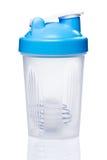 Empty protein shaker with metallic ball. On white background Stock Photo