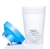 Empty protein shaker with metallic ball Stock Photos