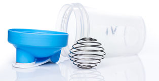 Empty protein shaker with metallic ball Royalty Free Stock Image