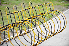 Empty public bicycle rack Stock Images