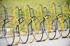 Empty public bicycle rack Royalty Free Stock Photos