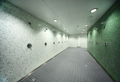Empty public shower room royalty free stock photo
