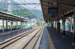 Empty public train station in tokyo japan. Selective focus royalty free stock photos
