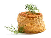 Empty puff pastry. On white Royalty Free Stock Photos