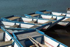 Empty punt boats at a pier.  Royalty Free Stock Image