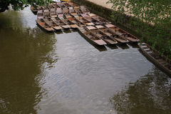 Empty Punts in a Canal Royalty Free Stock Photos