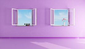 Empty purple living room Royalty Free Stock Images