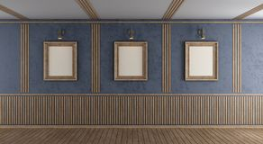 Empty purple room with blank frame. And decorative wooden panel - 3d rendering Stock Photography