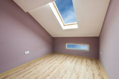Empty purple room with windows and a door (clipping path) Stock Photos