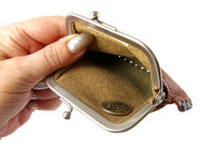 Empty purse in hand. Stock Image