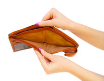 Empty purse in a hand. Royalty Free Stock Photo
