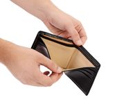 Empty purse in hands. Stock Image