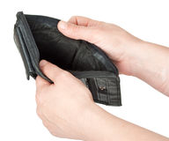 Empty purse in his hands Stock Image
