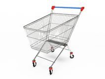 Empty pushcart. Empty shop pushcart 3D rendering royalty free illustration