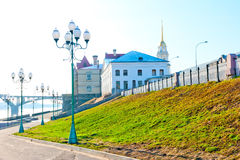 Empty quay city of Rybinsk in early morning Stock Image