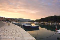 Empty quay of mediterranean town. At sunset (Croatia, Hvar Royalty Free Stock Image