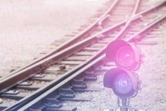 Railroad semaphore with diagonal railway background Stock Photography