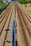 Empty railroad with posts and wires Royalty Free Stock Image