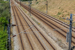 Empty railroad with posts and wires Royalty Free Stock Photo