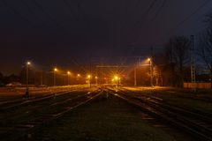 Empty railroad station at night time. Empty train railroad station at night time Stock Image