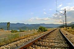 Empty railroad track. In Montenegro stock photo