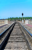 Empty railroad track Stock Photo