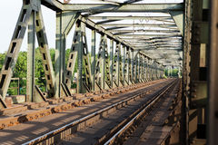Empty railroad tracks on scale bridge Stock Photography
