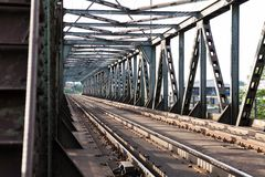 Empty railroad tracks on scale bridge Royalty Free Stock Images