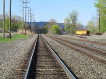 Empty railroad tracks in West Haverstraw, NY. Stock Image