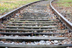 Empty railway in autumn day Stock Image