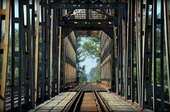 Empty railway bridge near Stalowa Wola. Empty iron railway bridge above San river, near Stalowa Wola Stock Images