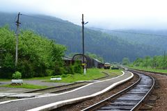 Old railway station in Carpathian Mountains stock photography