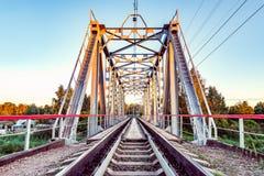 Empty railway metal bridge. Stock Photography