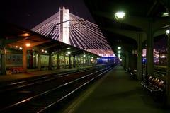 empty-railway-platform-at-night Stock Image