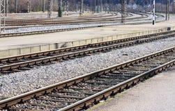 Empty railway racks. Empty racks in railway station Knin, Croatia Stock Photo