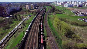 Empty railway in the spring. stock video footage