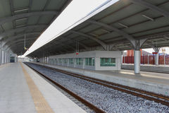 Empty railway station horizontal. Nobody stock photos