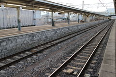 An empty railway station. In morning Royalty Free Stock Photography
