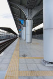 Empty railway station vertical Royalty Free Stock Photos