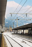 Empty Railway station at winter day Stock Image