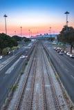 Empty Railway at Sunset royalty free stock photos